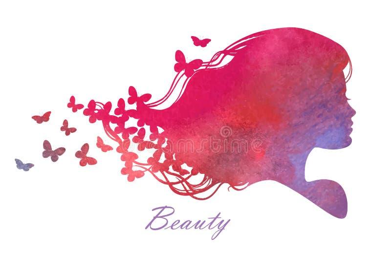 Cabeza de la silueta con el pelo de la acuarela Ejemplo del vector del salón de belleza de la mujer imagenes de archivo