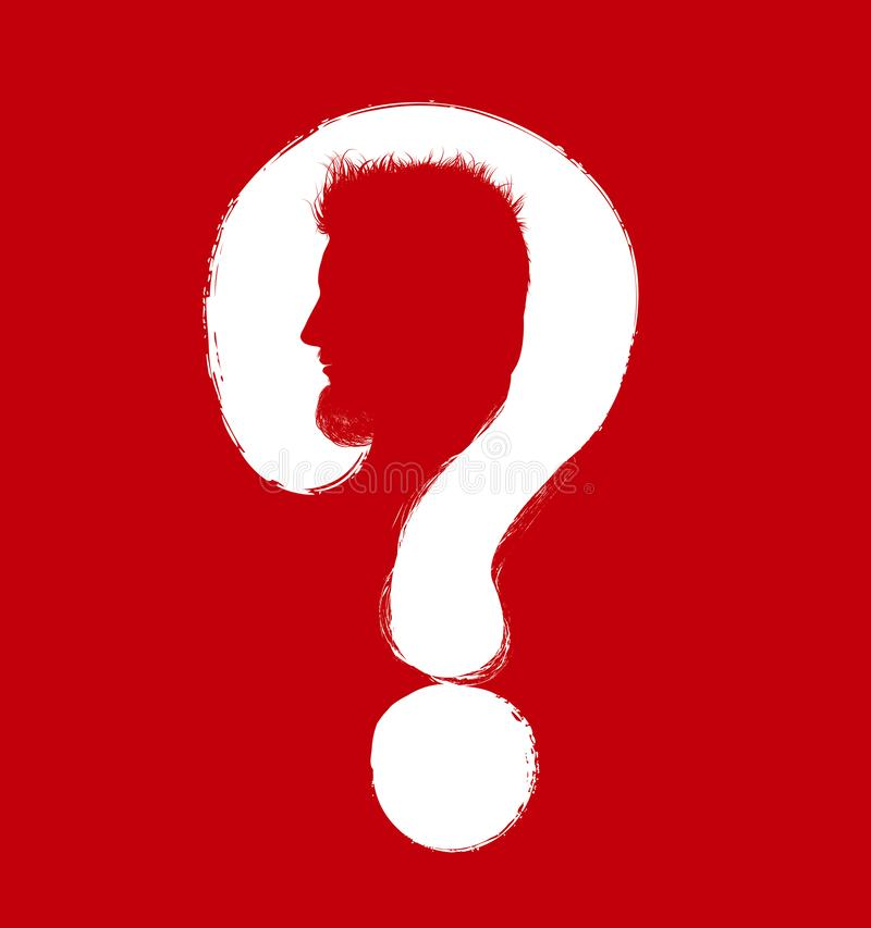 Cabeza de la silueta del hombre del perfil con el signo de interrogación blanco en fondo rojo ilustración del vector