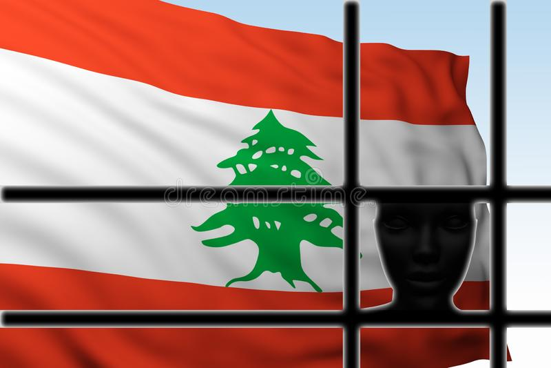 Cabeza de la silueta detrás de barras con la bandera de Líbano libre illustration