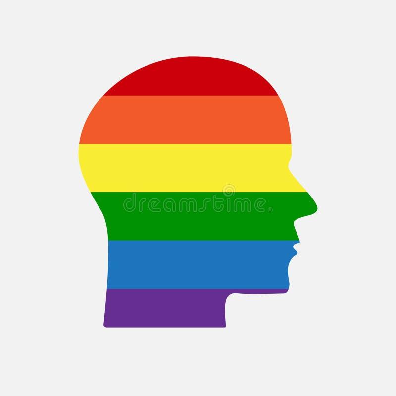 Cabeza de la silueta de la muestra LGBT Arco iris de la comunidad de LGBT ilustración del vector