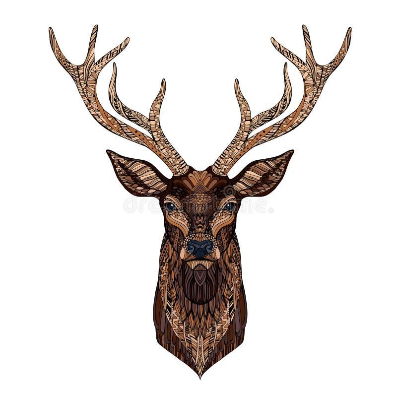 Cabeza de los ciervos estilizada en estilo del zentangle ilustración del vector