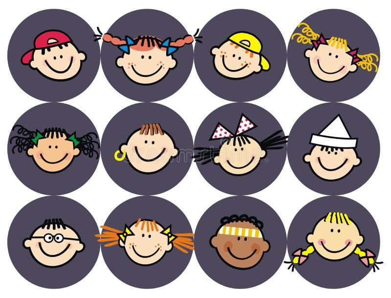 Cabeza de niños, retrato aislado, etiqueta engomada, icono del vector libre illustration