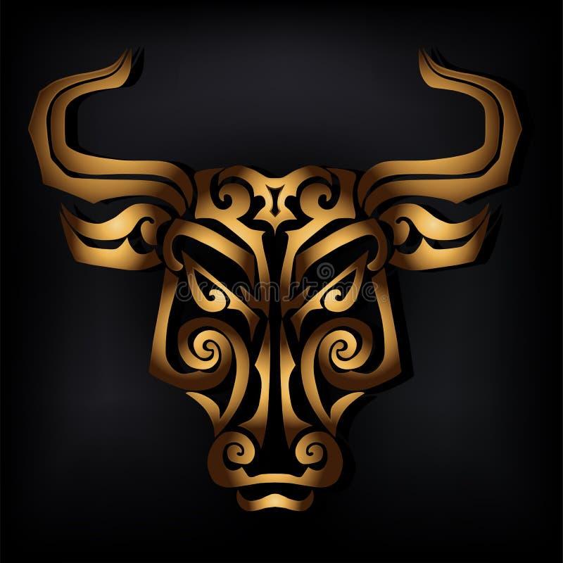 Cabeza de oro del toro aislada en fondo negro ilustración del vector