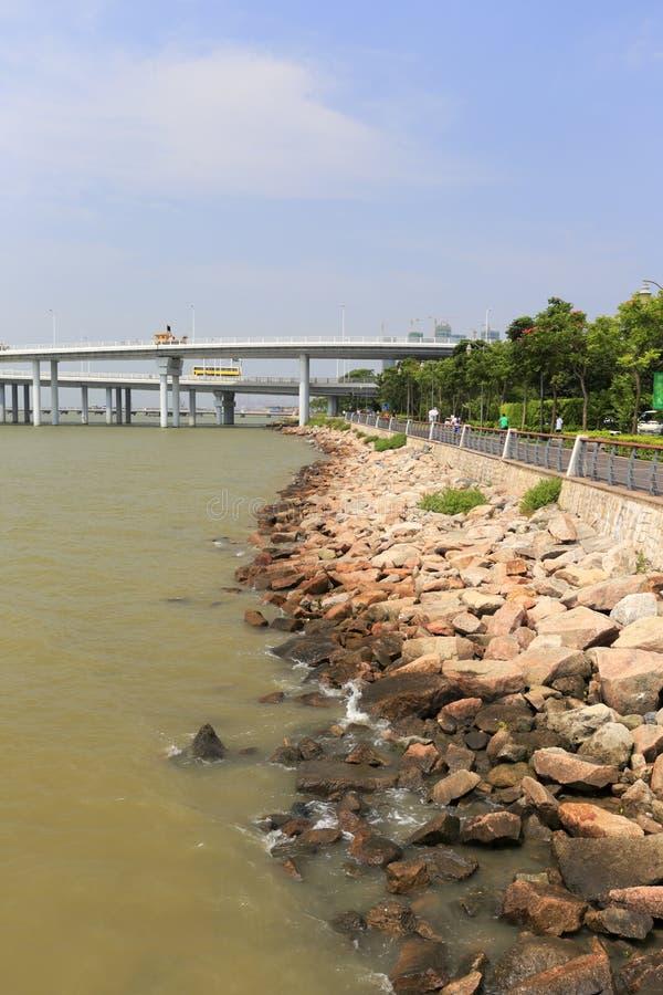 Cabeza de puente del puente de la bahía de Shenzhen imagen de archivo