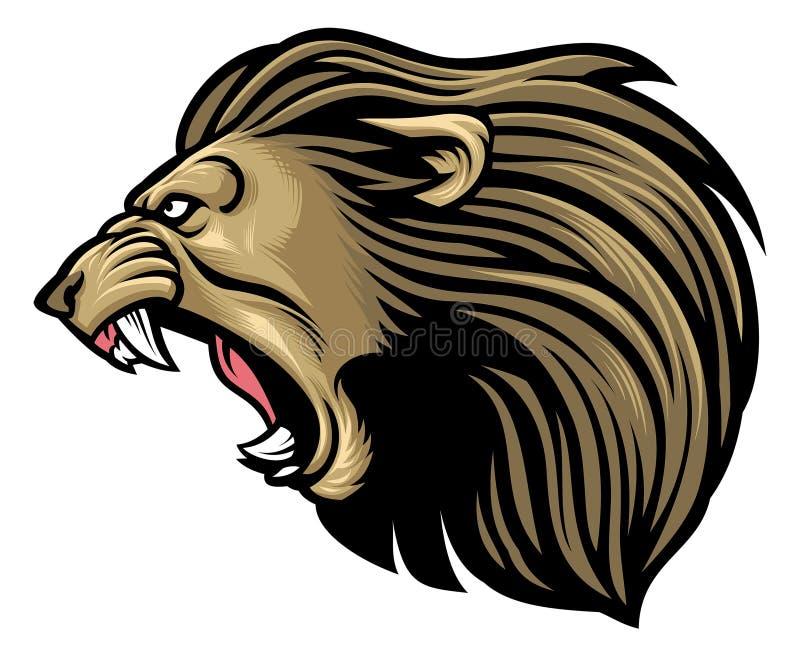 Cabeza de rugido del león ilustración del vector