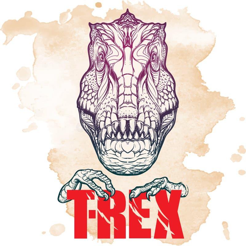 Cabeza de rugido del tiranosaurio con la muestra del t-rex en fondo del Grunge imagen de archivo libre de regalías