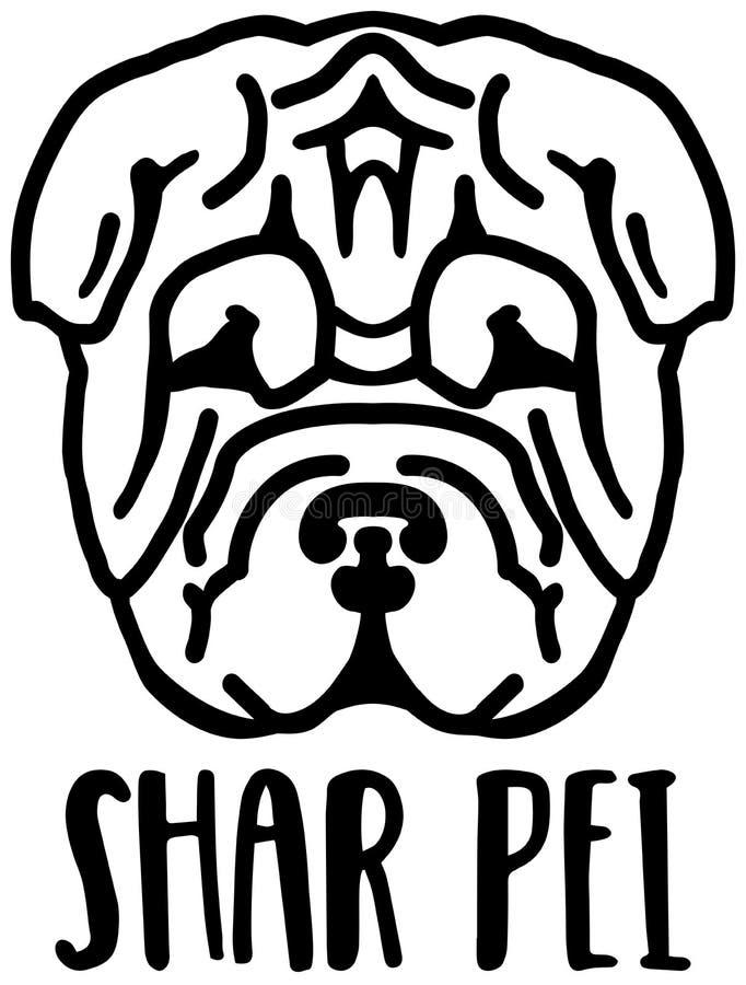 Cabeza de Shar Pei blanco y negro libre illustration