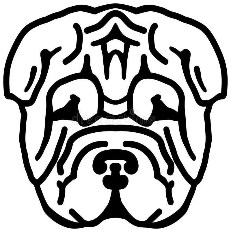 Cabeza de Shar Pei blanco y negro ilustración del vector