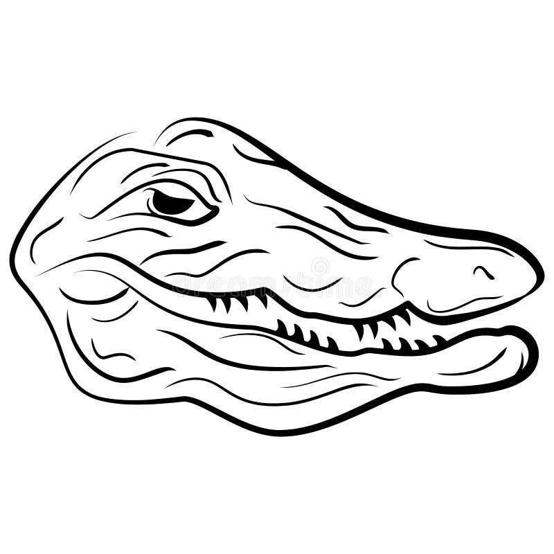 Cabeza de un cocodrilo, ejemplo del bosquejo del cocodrilo stock de ilustración