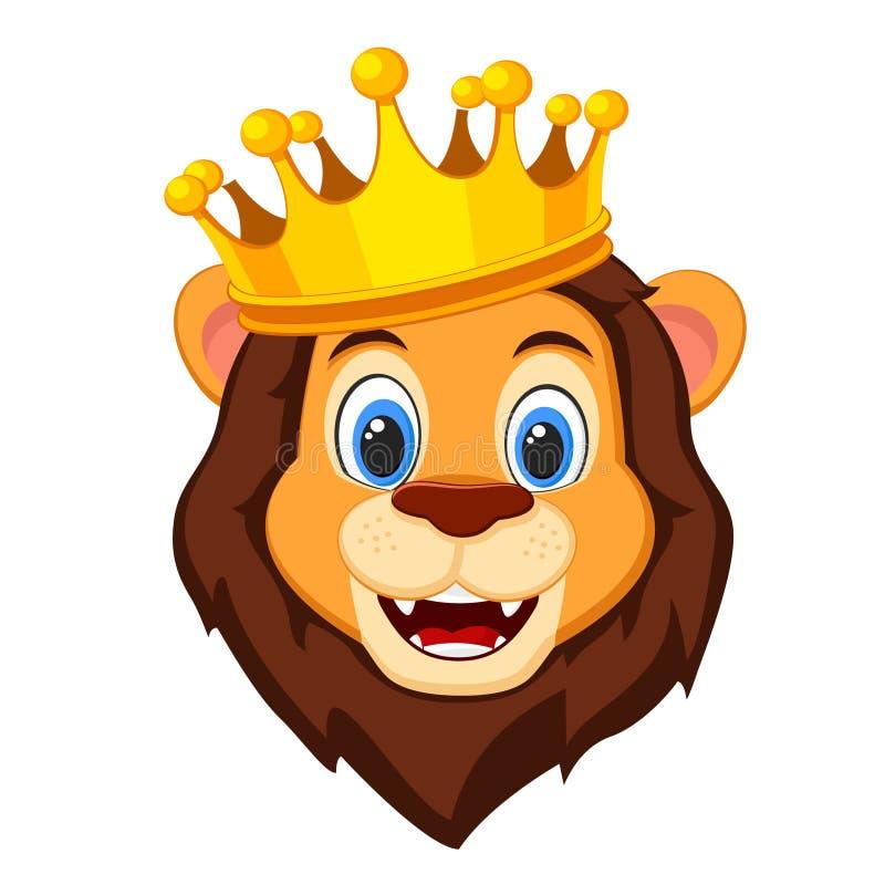 Cabeza de un león que lleva una corona en un fondo blanco ilustración del vector