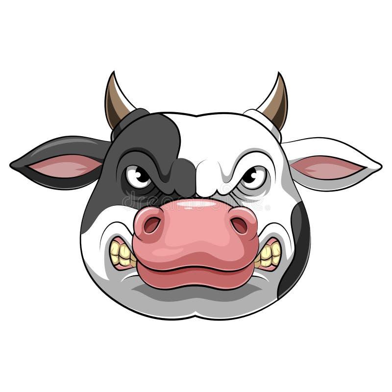 Cabeza de una vaca enojada stock de ilustración