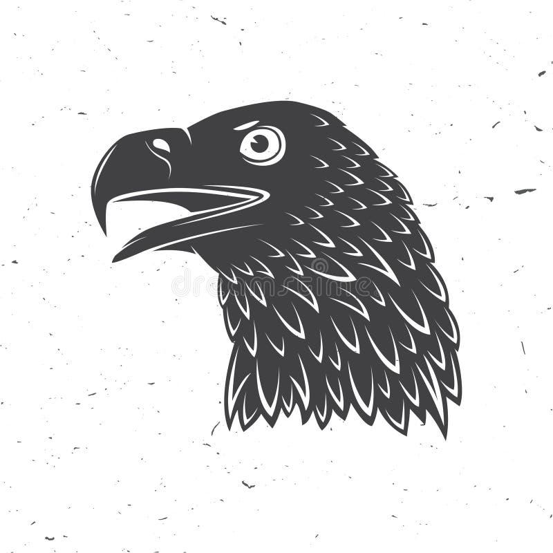 Cabeza del águila de oro Ilustración del vector Símbolo del pájaro de potente, de orgulloso, la libertad y la independencia ilustración del vector