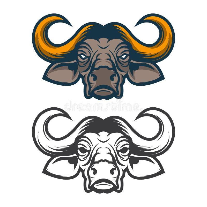 Cabeza del búfalo Mascota del equipo de deporte ilustración del vector