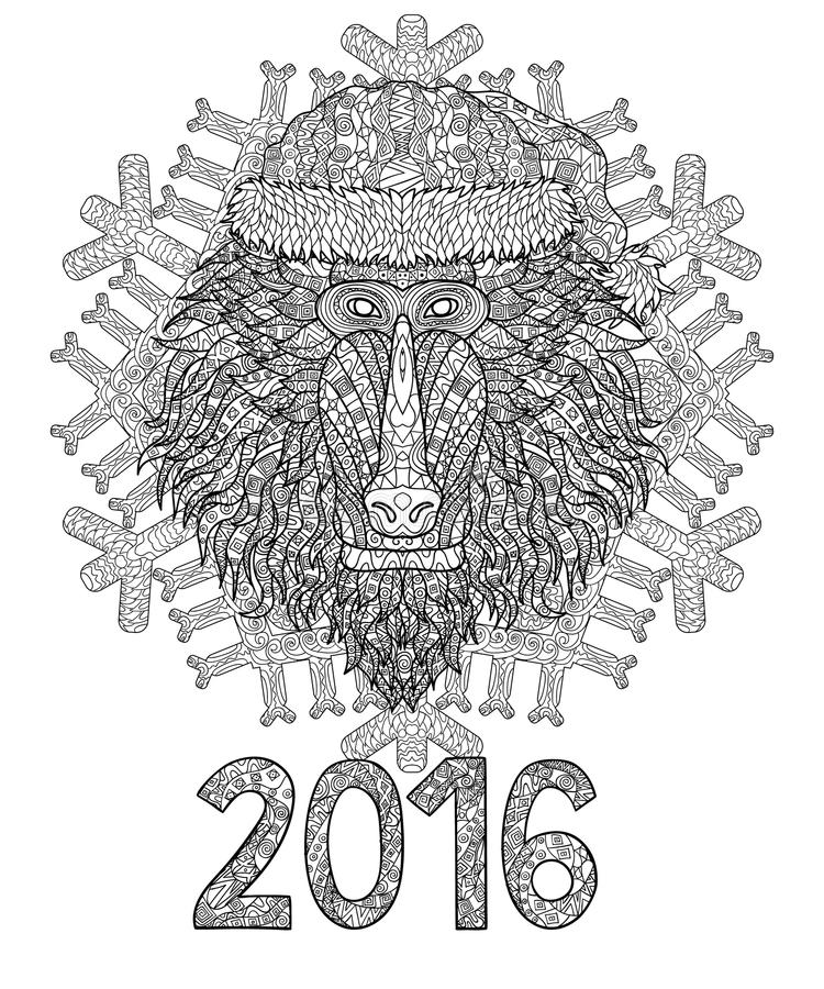 Cabeza del babuino en estilo del zentangle ilustración del vector