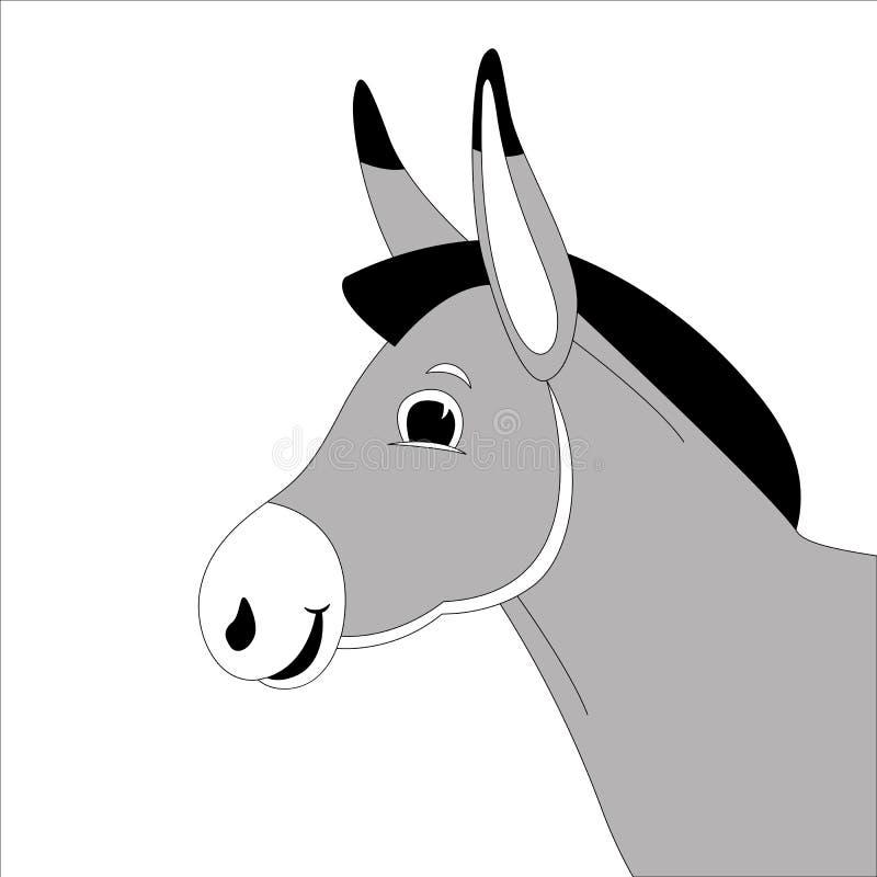 Cabeza del burro de la historieta, ejemplo del vector, alineando drenaje, perfil ilustración del vector
