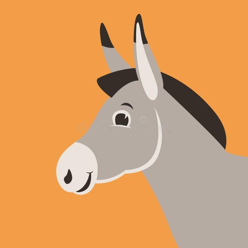 Cabeza del burro de la historieta, ejemplo del vector, estilo plano, perfil libre illustration