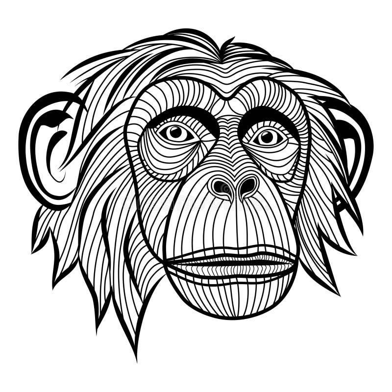 Cabeza del chimpancé del mono ilustración del vector
