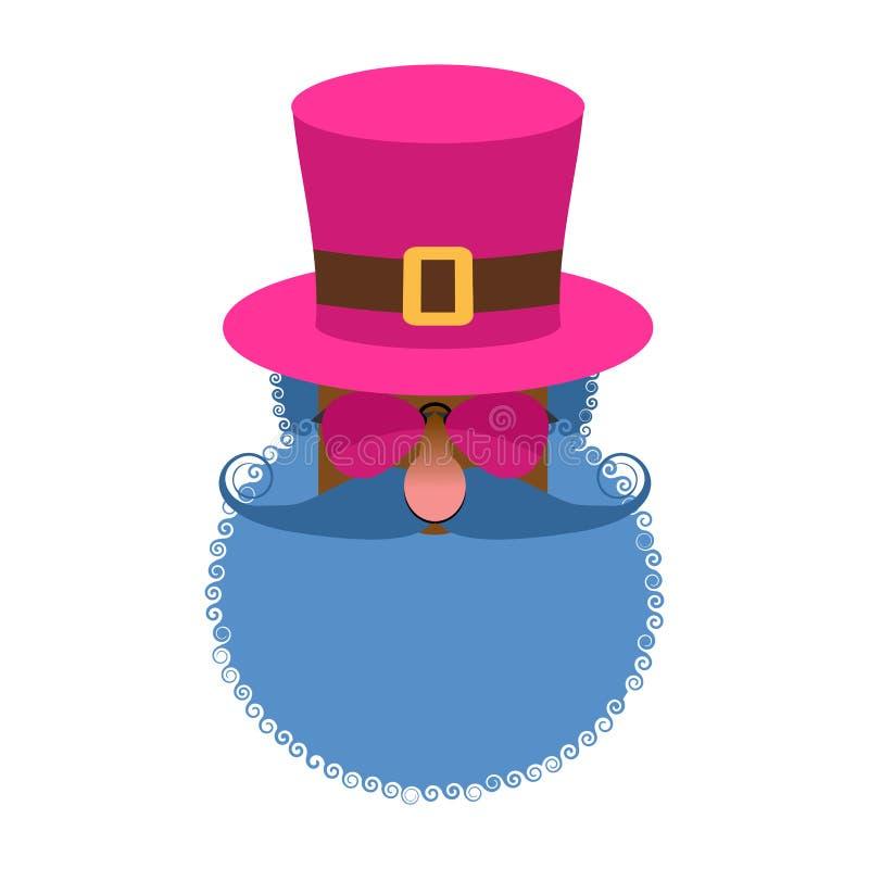 Cabeza del chulo aislada Hombre excéntrico con la barba y el sombrero que lleva Tr stock de ilustración