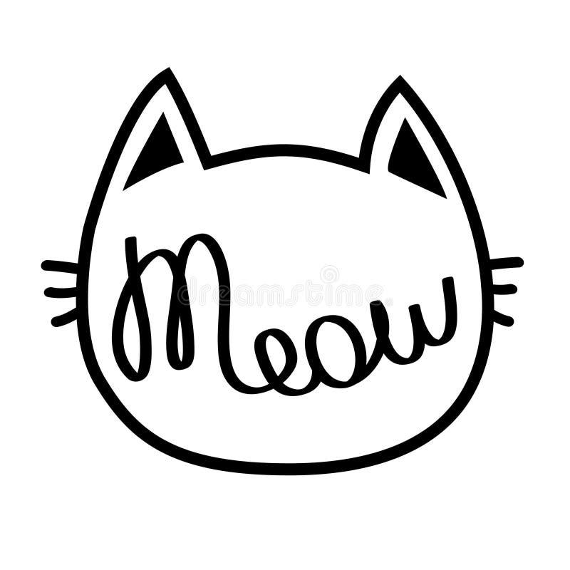 Cabeza del contorno del gato negro Texto de las letras del maullido Silueta linda del personaje de dibujos animados Animal de Kaw stock de ilustración
