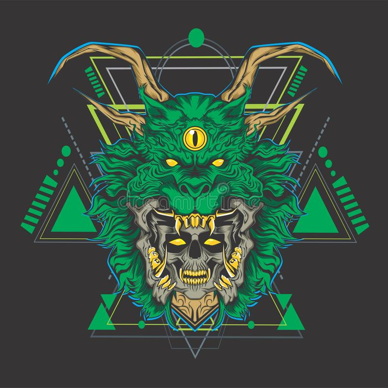 Cabeza del cráneo del dragón verde ilustración del vector