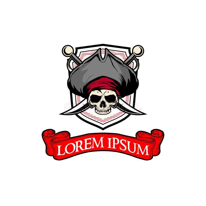 Cabeza del cráneo del pirata con la plantilla del logotipo de la insignia del vector de la espada stock de ilustración