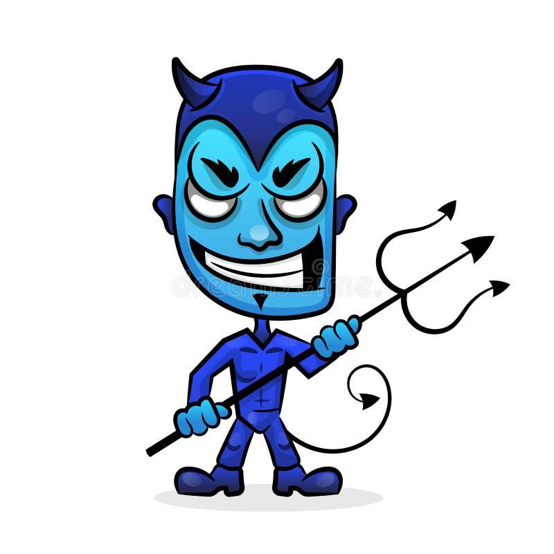Cabeza del diablo azul stock de ilustración