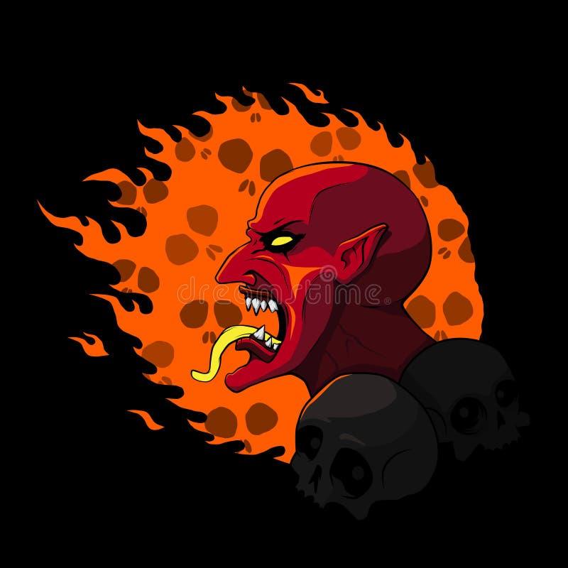 Cabeza del diablo en el fuego Ilustración del vector stock de ilustración