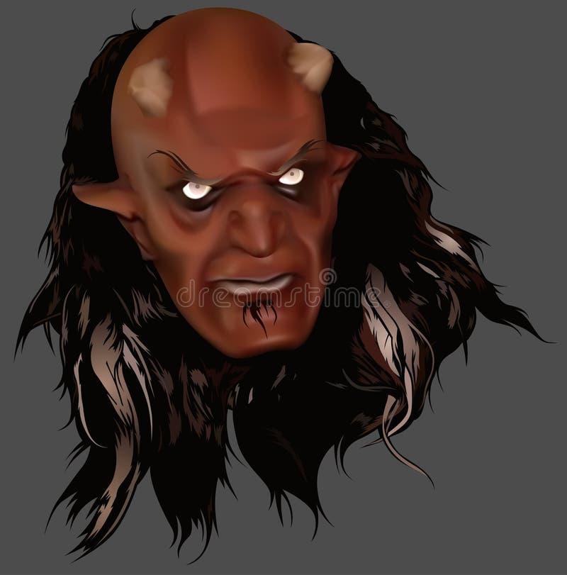 Cabeza del diablo rojo con los ojos brillantes ilustración del vector