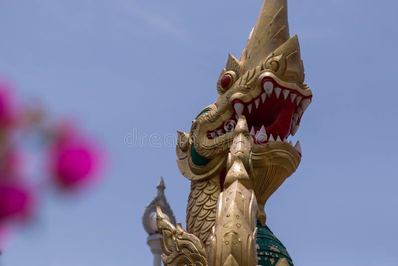 Cabeza del dragón en las escaleras al templo budista fotografía de archivo libre de regalías