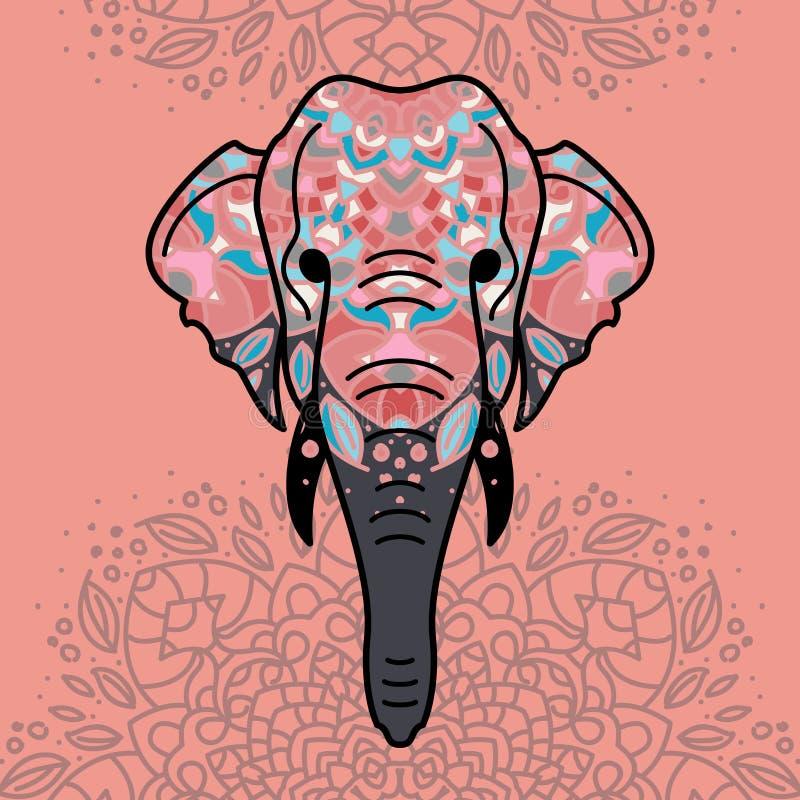 Cabeza del elefante con un ornamento floral foto de archivo