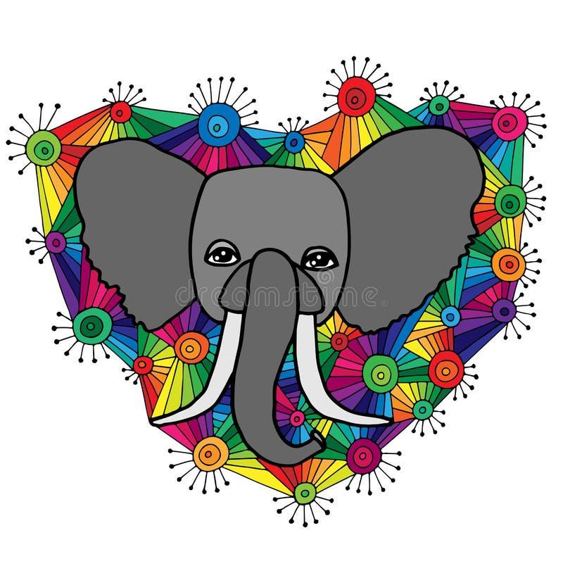 Cabeza del elefante en el ornamento colorido abstracto stock de ilustración