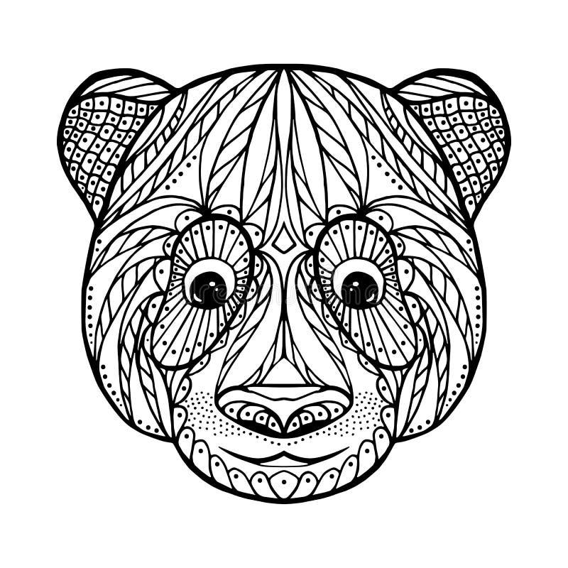 Cabeza del enredo del zen de la panda stock de ilustración