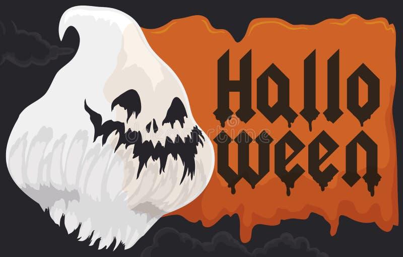 Cabeza del fantasma y la muestra que flota en una noche de Halloween, ejemplo del ectoplasma del vector stock de ilustración