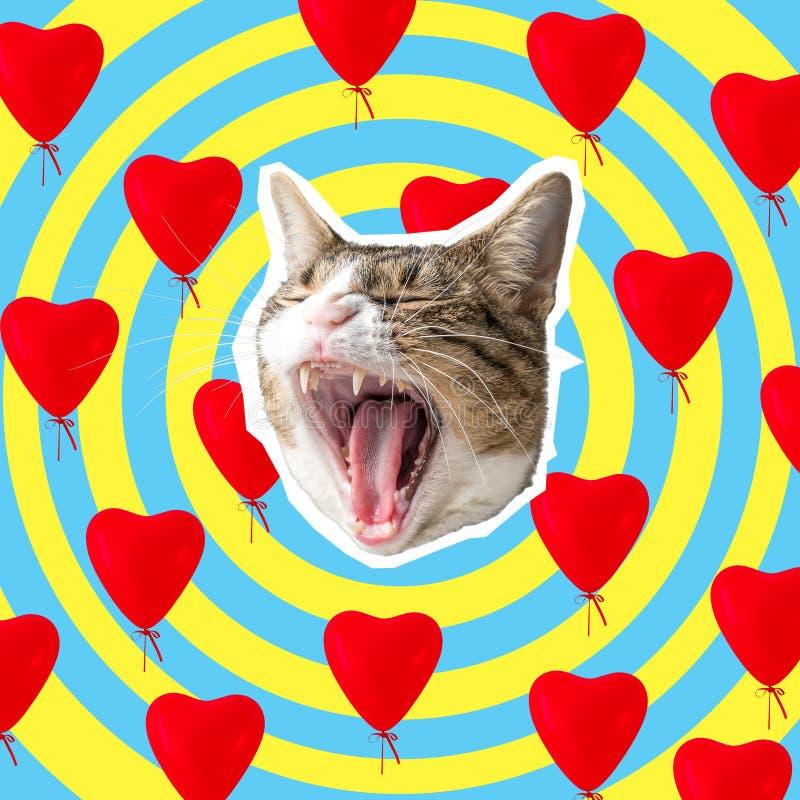Cabeza del gato con el collage brillante de los corazones, diseño de concepto del arte pop Fondo mínimo del amor imagen de archivo libre de regalías