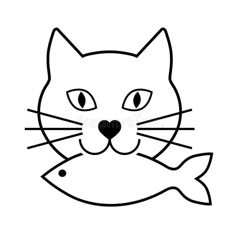Cabeza del gato con los pescados en boca en el fondo blanco libre illustration