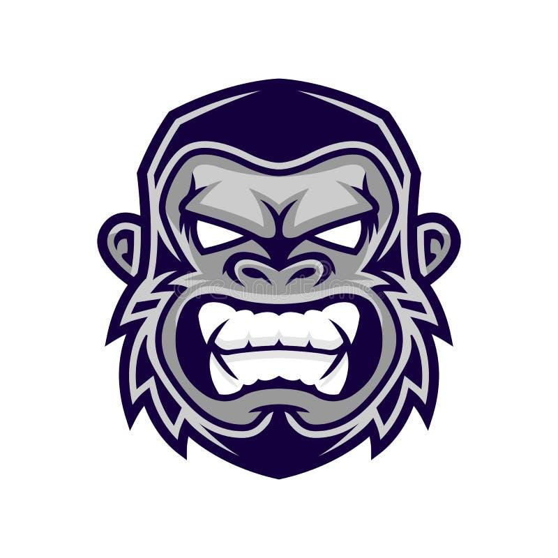 Cabeza del gorila, cabeza del mono, logotipo de la cara del mono ilustración del vector