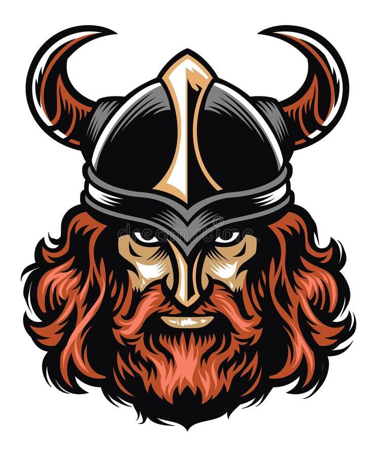 Cabeza del guerrero de Viking ilustración del vector