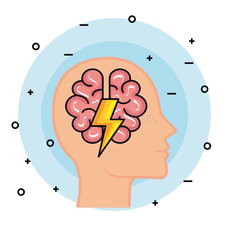 Cabeza del hombre de la silueta con el cerebro y el trueno stock de ilustración