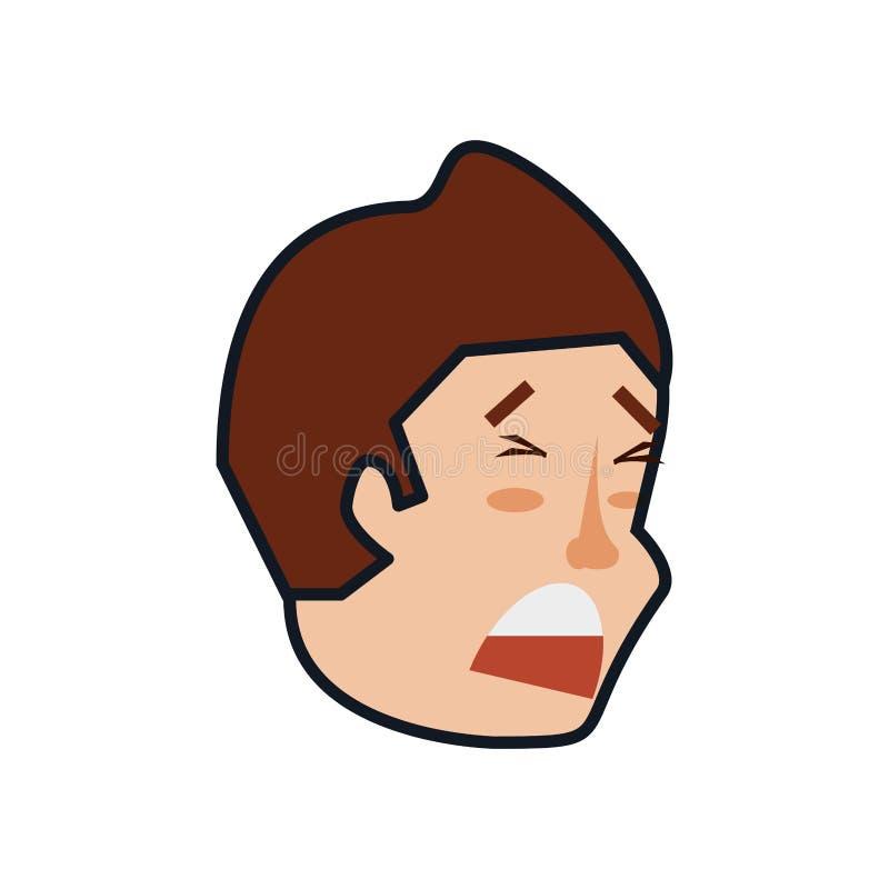 Cabeza del hombre joven triste stock de ilustración