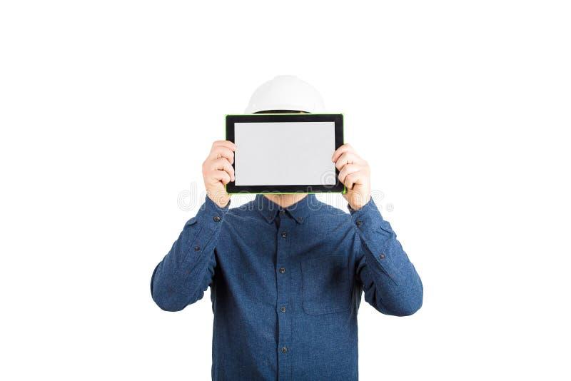 Cabeza del ingeniero de la cubierta de tabla fotografía de archivo