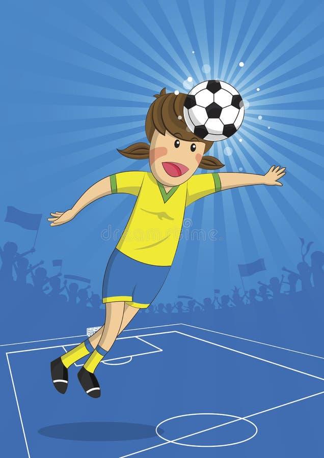 Cabeza del jugador de la muchacha del fútbol del ejemplo que tira una bola libre illustration
