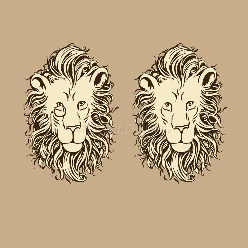 Cabeza del león con una melena y un monóculo mullidos Ilustración del vector libre illustration