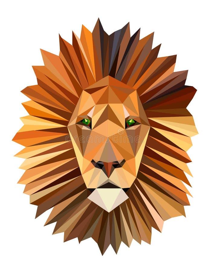 Cabeza del león de la imagen del polígono stock de ilustración