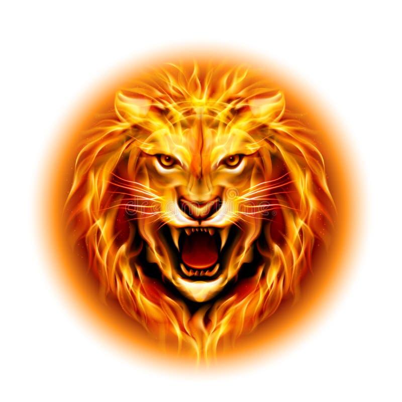 Cabeza del león del fuego. stock de ilustración