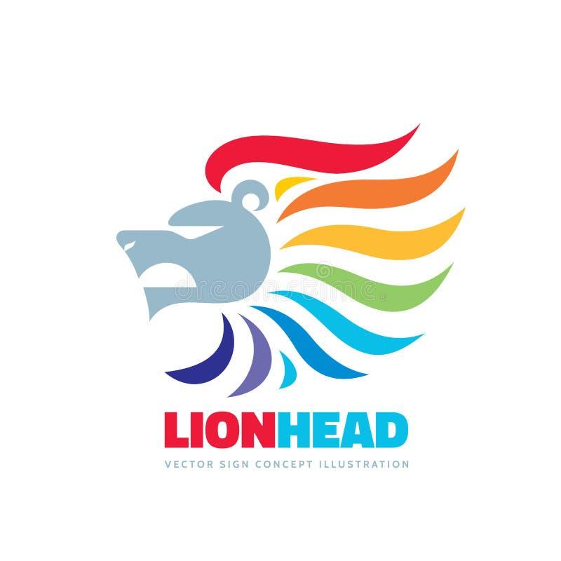 Cabeza del león - vector el ejemplo del concepto de la plantilla del logotipo Muestra creativa colorida positiva abstracta Elemen stock de ilustración