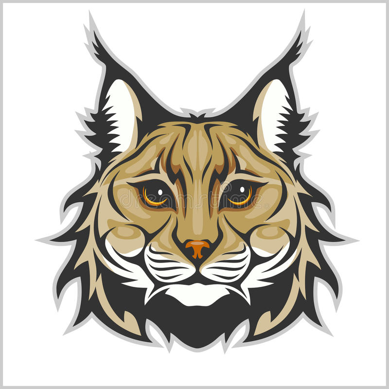 Cabeza del lince aislada en el blanco - logotipo de la mascota libre illustration