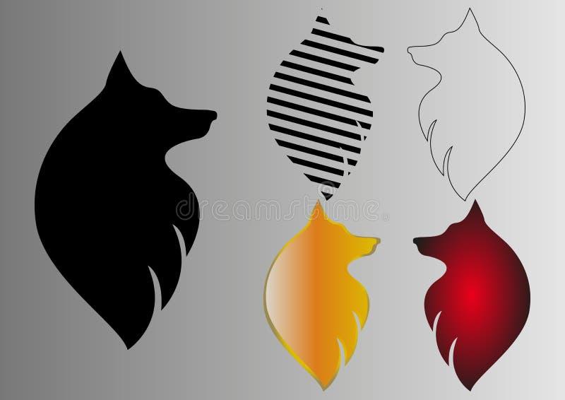 Cabeza del lobo de la abstracción en diversa ejecución ilustración del vector