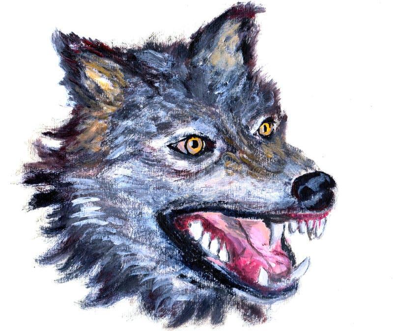 Cabeza del lobo de la pintura al óleo stock de ilustración