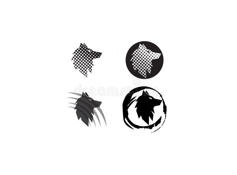Cabeza del lobo en un efecto del círculo y garras para el diseño del ejemplo del logotipo stock de ilustración