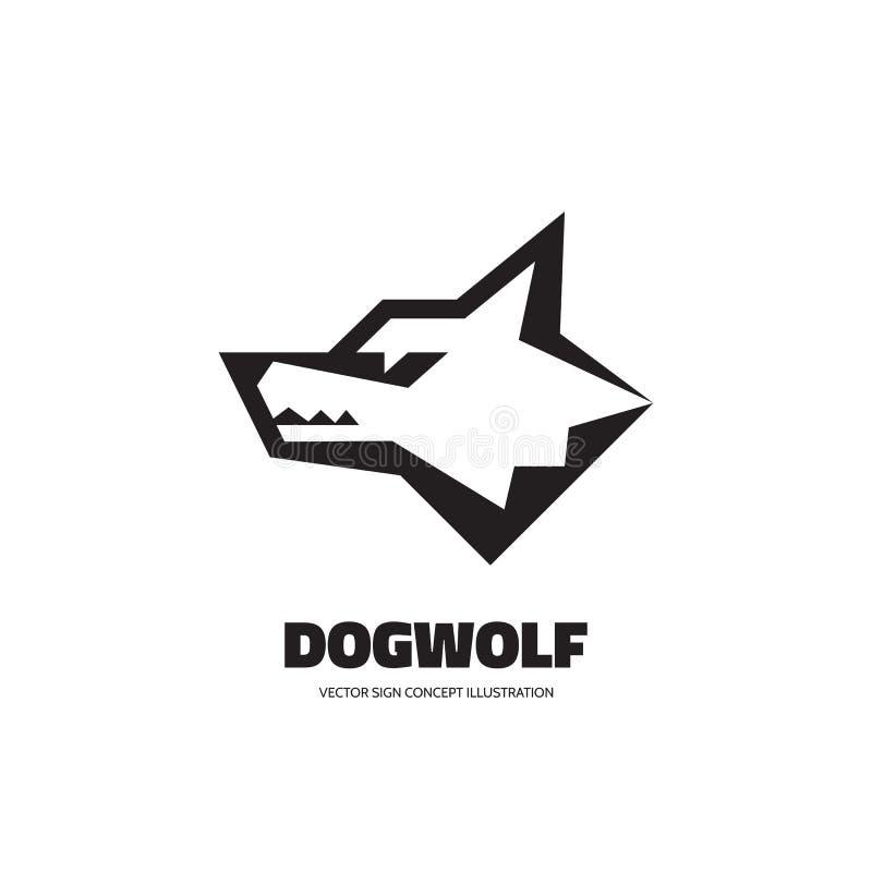 Cabeza del lobo o de perro - vector el ejemplo del concepto de la plantilla del logotipo Muestra gráfica animal de Wilde Elemento stock de ilustración